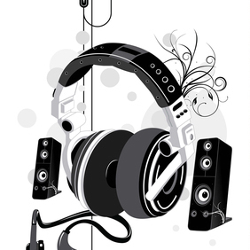 Free Music Headphone & Speakers Vector Illustration - Free vector #220981