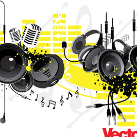 Music Party Vector Art Elements - Free vector #221051