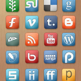 Free Elegant Social Media Icons Set - vector gratuit #221111