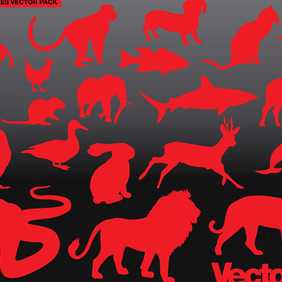 Animal Silhouette Vector Art Pack - Free vector #221121