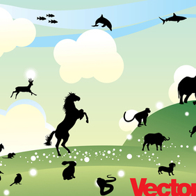 Animal Silhouette Illustration Collection - Kostenloses vector #221281
