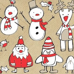 Christmas Themed Sketchy Vectors - vector #221871 gratis