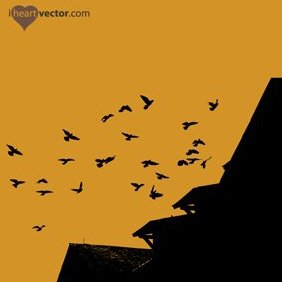 Flock Of Birds And Roof Vector - Free vector #222171