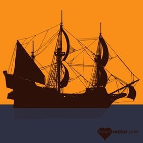 Pirate Ship Vector - Free vector #222231