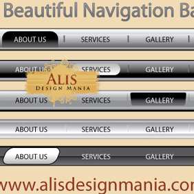 5 Beautiful Web Navigation Bars - vector gratuit #222401