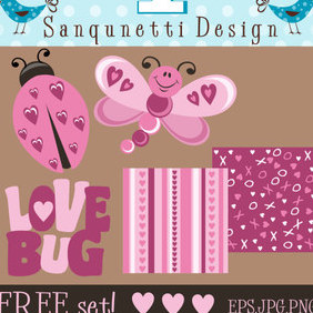 Love Bug Valentines Day Set - vector gratuit #222791