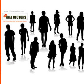 People Silhouette Vector - Free vector #222941