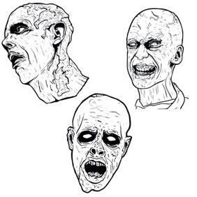 3 Free Illustrated Scary Zombies - vector gratuit #222961