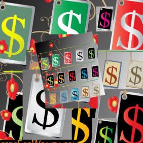Cool Money Sign Tags - Free vector #223461