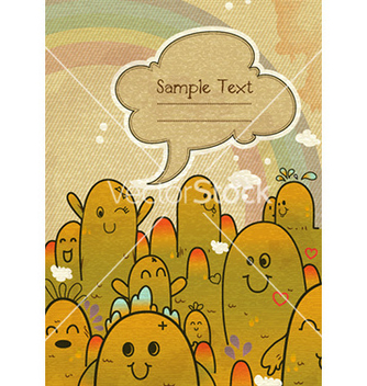 Free cute monsters with chat bubble vector - Kostenloses vector #224831