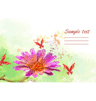Free grunge floral background with butterflies vector - Free vector #230721