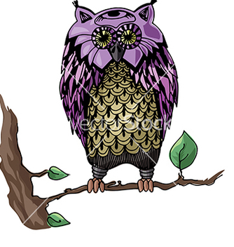 Free owl on a branch vector - Free vector #233041