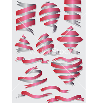 Free realistic red glossy ribbons with a stripe for vector - Kostenloses vector #233251