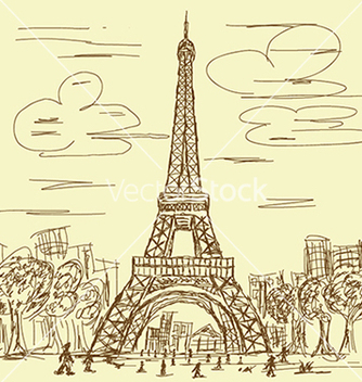 Free vintage hand drawn of eifel tower paris france vector - бесплатный vector #233361