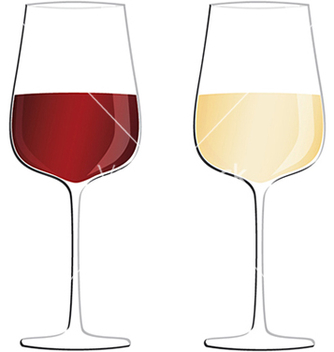 Free glasses of white wine and red wine isolated in vector - Kostenloses vector #233441