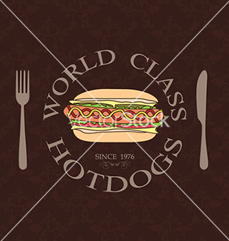 Free classic vintage world class hotdogs sandwich label vector - Free vector #233461