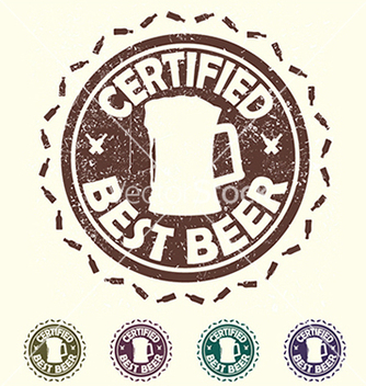 Free beer label stamp with text certified best beer vector - vector gratuit #233481