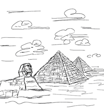 Free hand drawn of famous tourist destination sphinx vector - бесплатный vector #233521