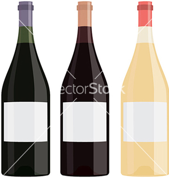 Free different flavor bottles of wine with blank label vector - бесплатный vector #233541
