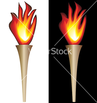 Free torch with flame isolated in white black vector - Kostenloses vector #233841