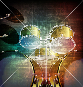 Free abstract music grunge vintage background with drum vector - Free vector #234021