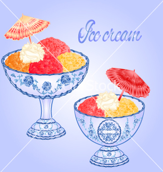 Free ice cream faience sundaes blue background vector - бесплатный vector #234031