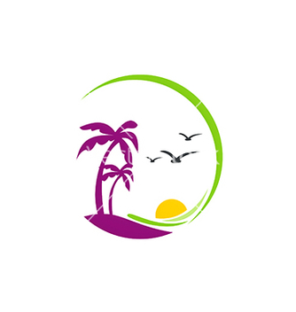 Free beach palm tree sunset tropic logo vector - Free vector #234061