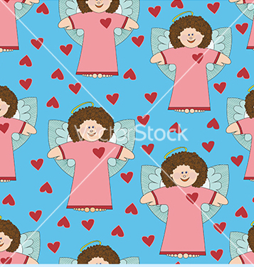 Free pattern with angels and hearts on a blue vector - vector gratuit #234101