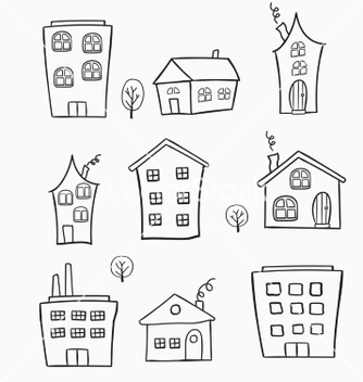 Free sketches of houses vector - Free vector #234231