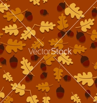 Free seamless autumn background with oak leaves and vector - Free vector #234241