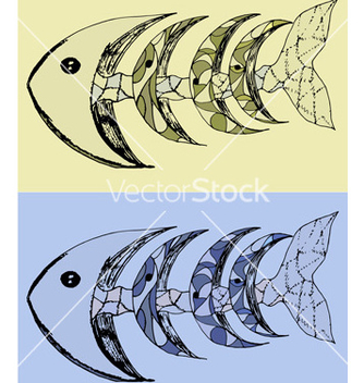 Free fish with bones abstract set vector - vector gratuit #234561