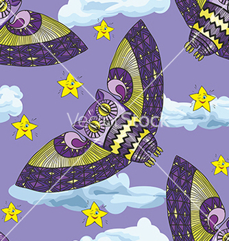 Free pattern with owl and stars vector - vector gratuit #234611