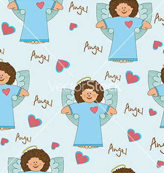 Free pattern with an angel on a blue background vector - Free vector #234661