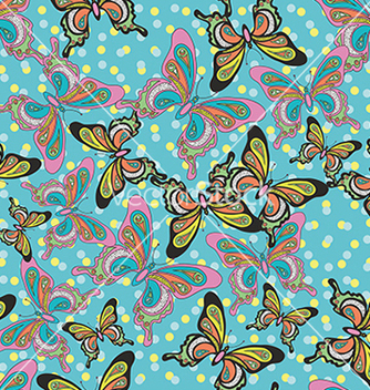 Free beautiful pattern with butterflies on a blue vector - Free vector #234681