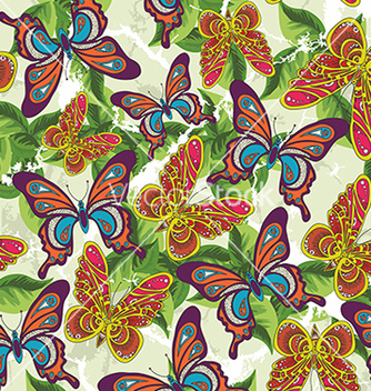 Free beautiful pattern with butterflies and leaves on a vector - Kostenloses vector #234691
