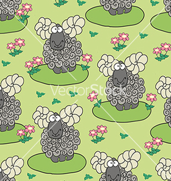 Free pattern with sheep and flowers vector - vector gratuit #234711