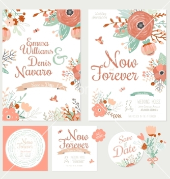 Free vintage romantic floral save the date invitation vector - vector gratuit #234791