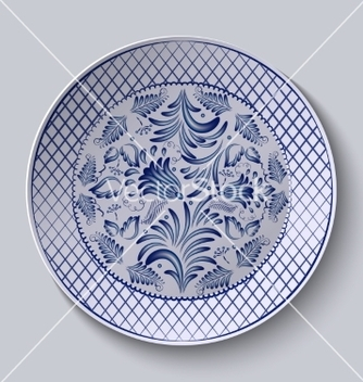 Free decorative ceramic plate with a painting floral vector - Free vector #234811