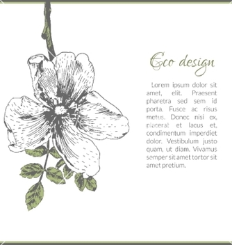 Free eco card template design with dogrose flower vector - Free vector #234821
