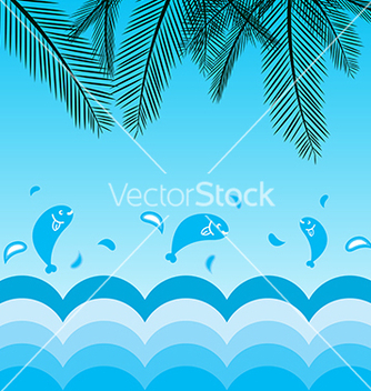Free coconut leafs and sea background vector - Free vector #234851