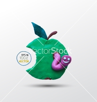 Free funny plasticine worm in the apple vector - vector gratuit #234961