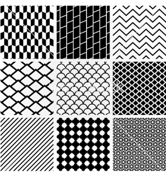 Free geometric monochrome seamless background patterns vector - Free vector #235131