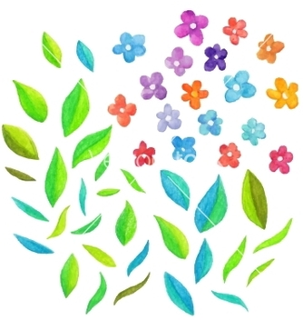 Free watercolor floral elements vector - бесплатный vector #235181