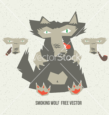 Free smoking wolf vector - Free vector #235361