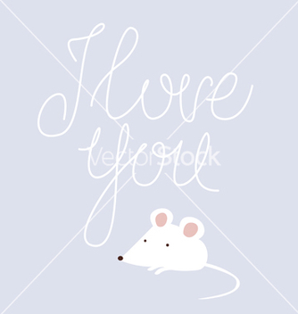 Free i love you design with white mouse vector - Free vector #235561