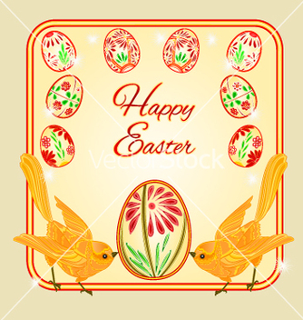 Free birds and easter eggs place for text vector - vector gratuit #235711