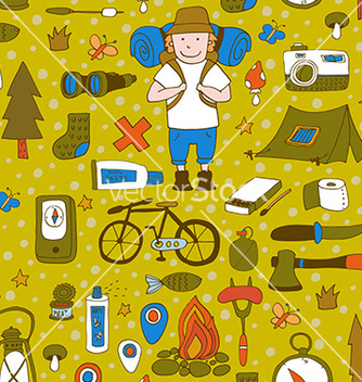 Free seamless pattern with adventure equipment vector - Free vector #235831