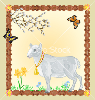 Free easter lamb with butterflies and pussycats vector - vector gratuit #236001