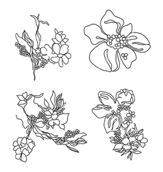 Free lace flowers set vector - Free vector #236191