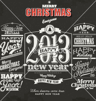 Free merry christmas sign and symbols decoration vector - Free vector #236491